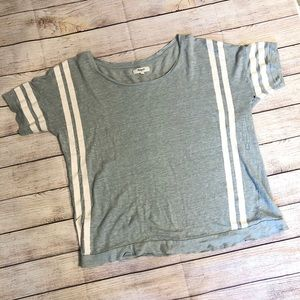 MADEWELL Gray Linen T Shirt with Stripes L